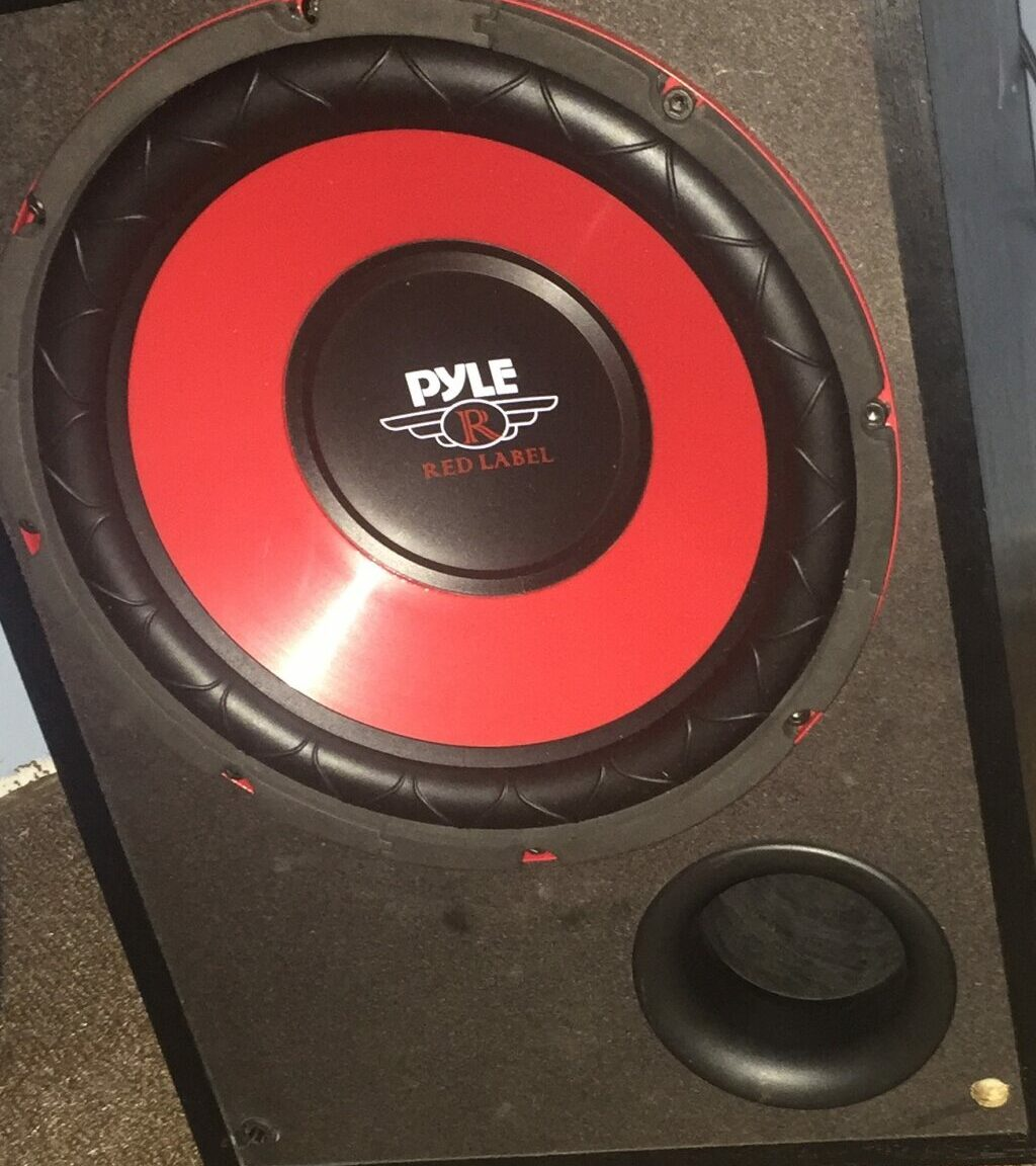 """A 10"""" powered subwoofer with a stiff cone."""