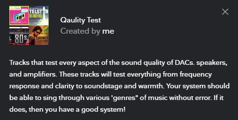 The description of my quality test playlist.